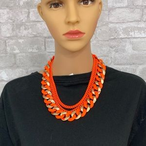 Jewelry - Neon Orange Statement Chain Necklace